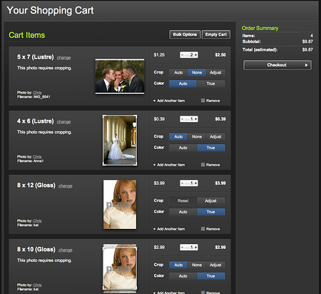SmugMug Shopping Cart
